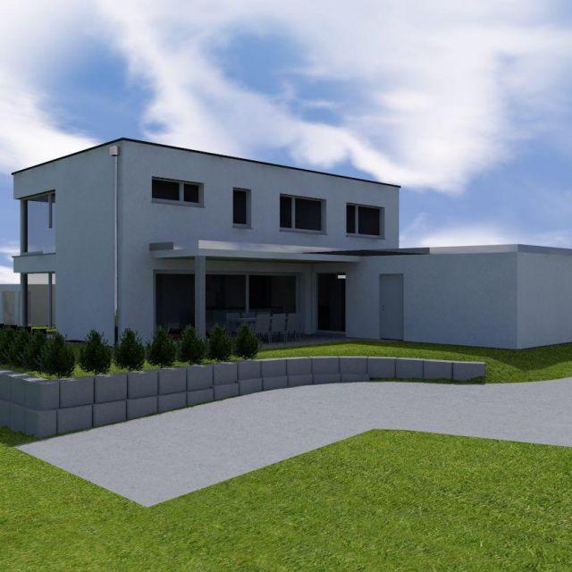 Perspektive Hauptwohnseite eines individuellen Kunden-Projektes: Architekturstil mit klaren Linien, Flachdach und viel Glas