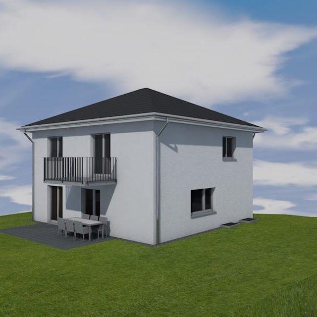 modernes Einfamilienhaus mit Zeltdach