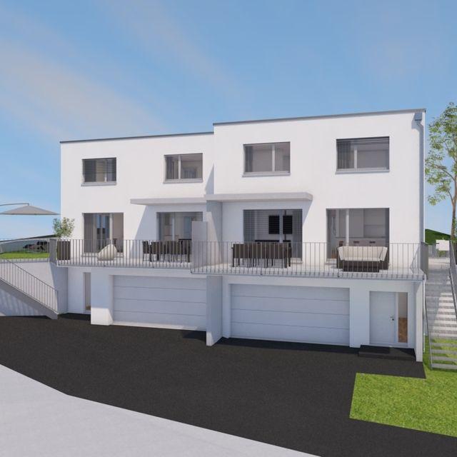 Zwei Einfamilienhäuser in Rebstein mit Sicht über das Rheintal